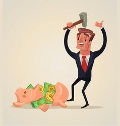 businessman character smashed piggy bank vector image