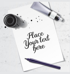 Calligraphy tools mockup vector