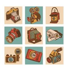 Camera icon set vector