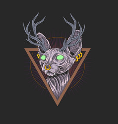 cat sphynx antlers design artwork vector image