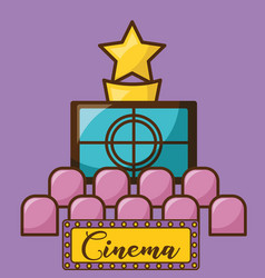 Cinema screen over purple background design vector