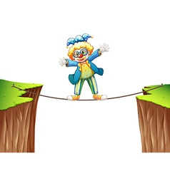 Clown standing on the rope vector image vector image