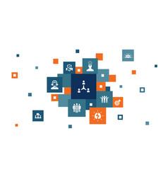 Collaboration infographic 10 steps pixel design vector