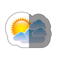 Color sticker sun with clouds icon vector
