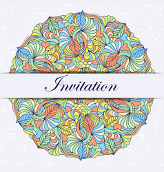 colorful invitation card vector image