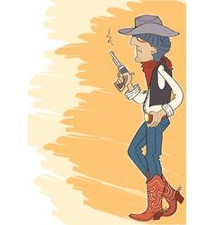 Cowboy in hat with gun vector