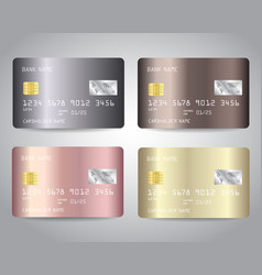 Credit cards set with gold bronze rose vector