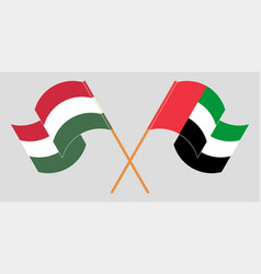Crossed and waving flags hungary and united vector