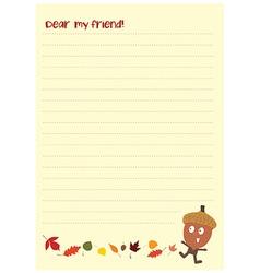 cute acorn letter vector image