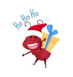 Cute ant character wearing santas hat and carrying vector