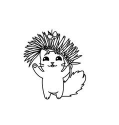 cute cartoon little cat vector image