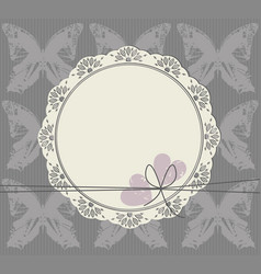 cute circle frame with lace ornament vector image