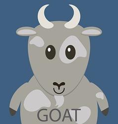 Cute grey goat cartoon flat icon avatar vector