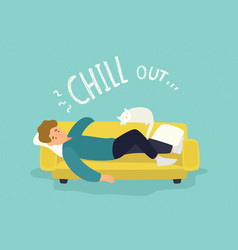 cute man lying relaxed on yellow couch and chill vector image