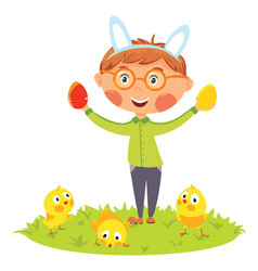 Easter kids in bunny ears with eggs and chicks vector