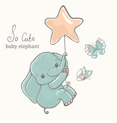 elephant with butterfly flying on baloon vector image