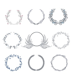Floral wreath collection vector image