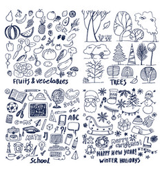Four layouts sample of fruits trees school holiday vector