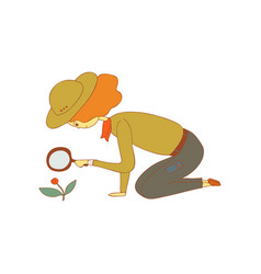 Girl scout with a luppa in her hands vector