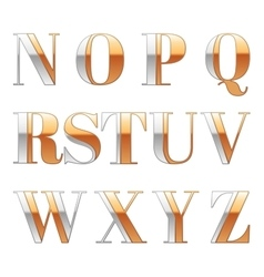 Gold and Silver metal font Metallic luxury vector