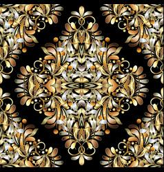 Gold vintage 3d floral seamless pattern black vector