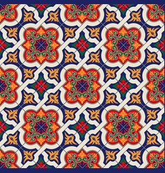 Gorgeous seamless pattern white colorful moroccan vector