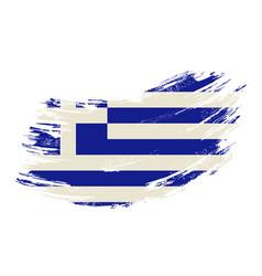 greek flag grunge brush background vector image