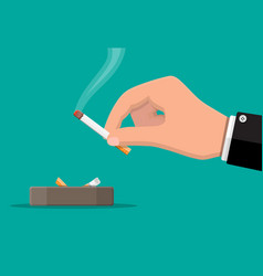 grey ceramic ashtray full smokes cigarettes vector image