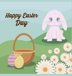 happy easter day card with cute rabbit and vector image