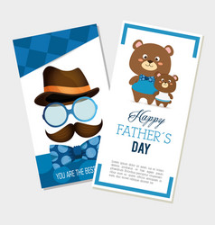 happy fasthers day card with bears and hipster vector image