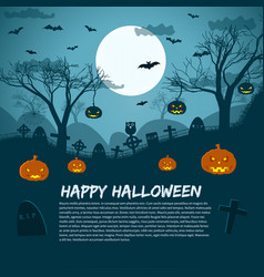 happy halloween lunar sky background vector image