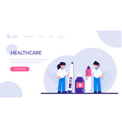 Healthcare concept doctor with syringe hold in vector
