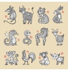 Horoscope animals vector