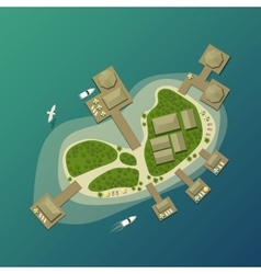 Island top view with tourist beach and umbrella vector