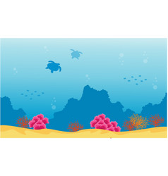 Landscape of underwater reef and turtle vector