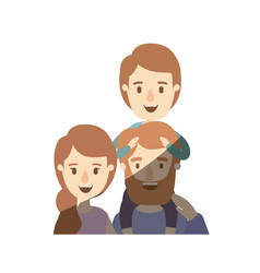 light color shading caricature half body family vector image