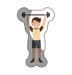 man athlete weight lifting avatar character vector image