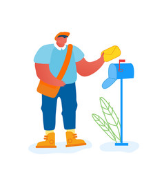 man postman with bag on shoulder putting letter in vector image