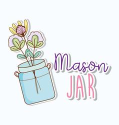 Mason jar with flowers vector