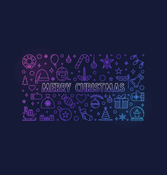 merry christmas greeting card outline vector image