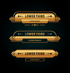 Modern lower third collection gold color vector