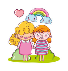 Nice girls with rainbow and kawaii clouds vector