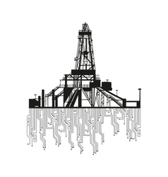 Oil rig silhouettes on white background vector image