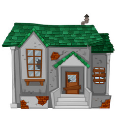 old house with green roof vector image