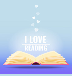open book i love reading books concept vector image