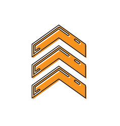 Orange military rank icon isolated on white vector