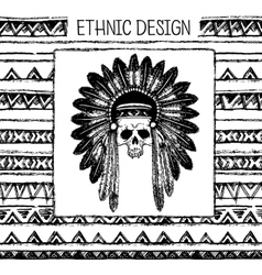 Pattern with indian headdress Black and white vector