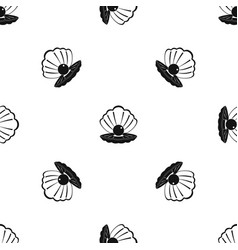 Pearl in a sea shell pattern seamless black vector