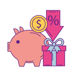 piggy savings with commercial icons vector image