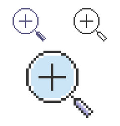 Pixel icon increase magnifying glass in three vector